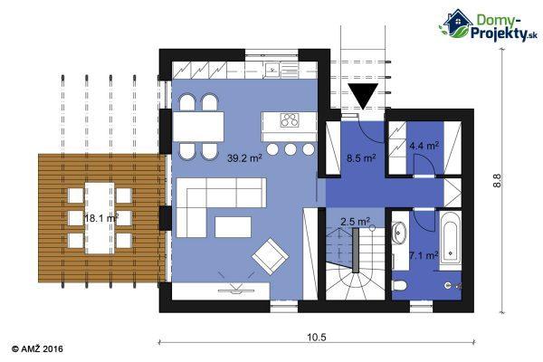projekt montovaného domu s terasou