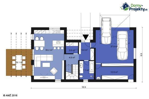 projekt moderný montovaný dom na kľúč