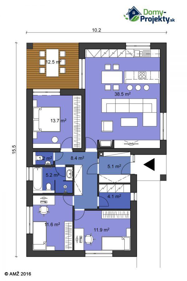 projekt 4izbový bungalov s terasou